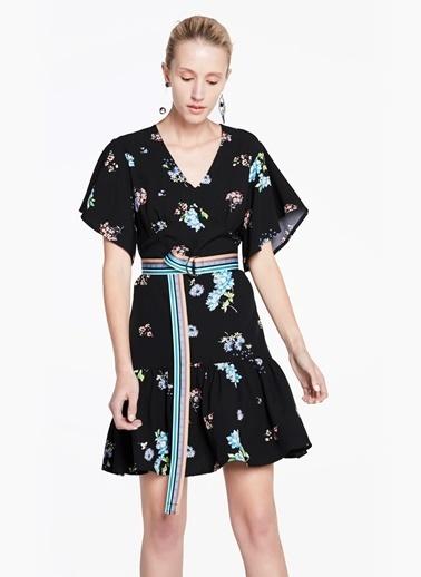 Çiçekli V Yaka Kısa Elbise-Twist